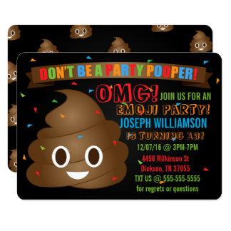 Funny Poop Emoji Birthday Party Invitation