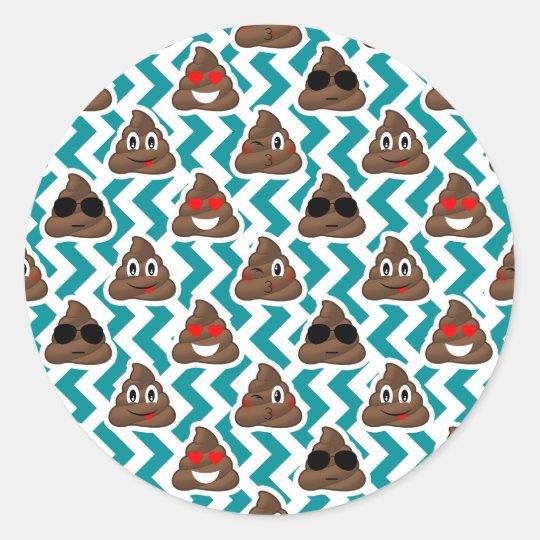 Funny Poop Emojis Teal Patterned Stickers