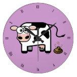 Funny Pooping Cartoon Cow (roman) Wall Clock