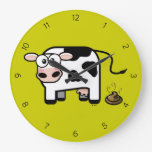 Funny Pooping Cartoon Cow Wall Clock