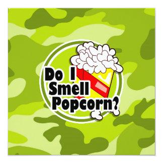Funny Popcorn; bright green camo, camouflage 13 Cm X 13 Cm Square Invitation Card