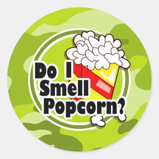 Funny Popcorn; bright green camo, camouflage Stickers