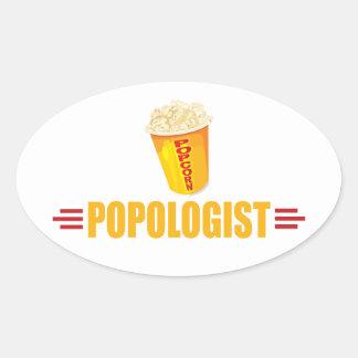 Funny Popcorn Oval Sticker