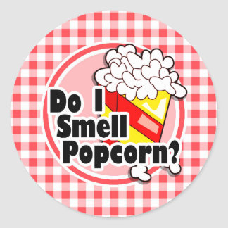 Funny Popcorn; Red and White Gingham Round Sticker