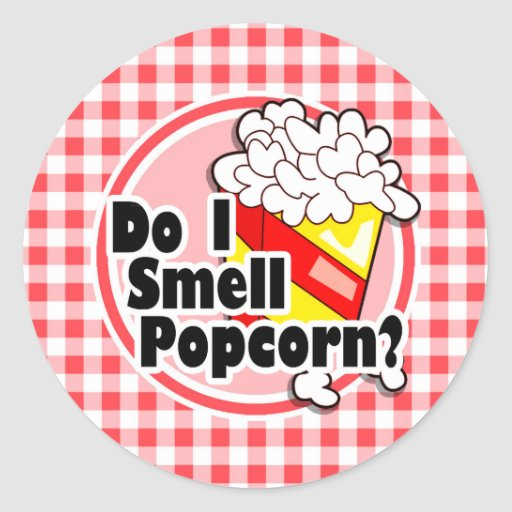 Funny Popcorn; Red and White Gingham Round Stickers