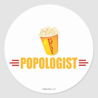Funny Popcorn Round Stickers
