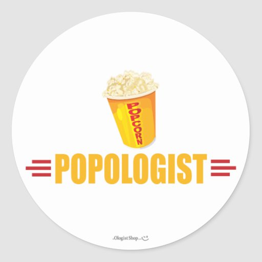 Funny Popcorn Round Stickers