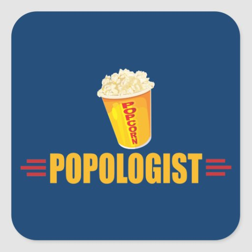 Funny Popcorn Square Stickers