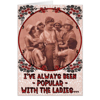 "Funny ""Popular"" Vintage Retro Valentine's Day Greeting Card"