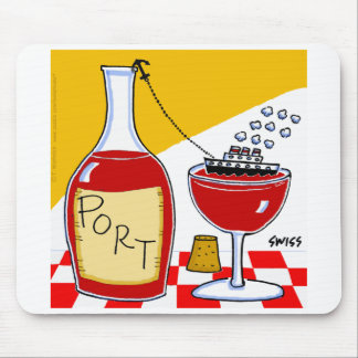 Funny Port Wine Cartoon Mouse Pad