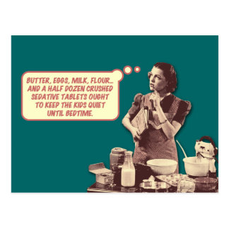 Funny Postcard - Retro Housewife Sleepytime Cake