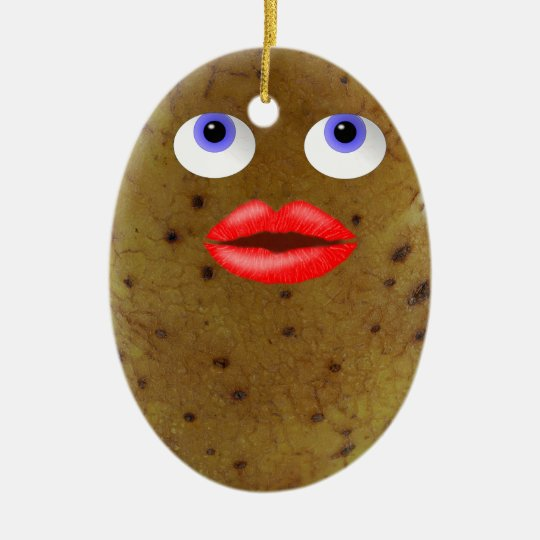Funny Potato Character With Blue Eyes Ornament
