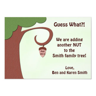 Funny Pregnancy Announcement Card - Nut to Tree