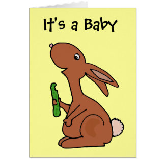 Funny Pregnant Brown Bunny Rabbit with Pickle Greeting Card