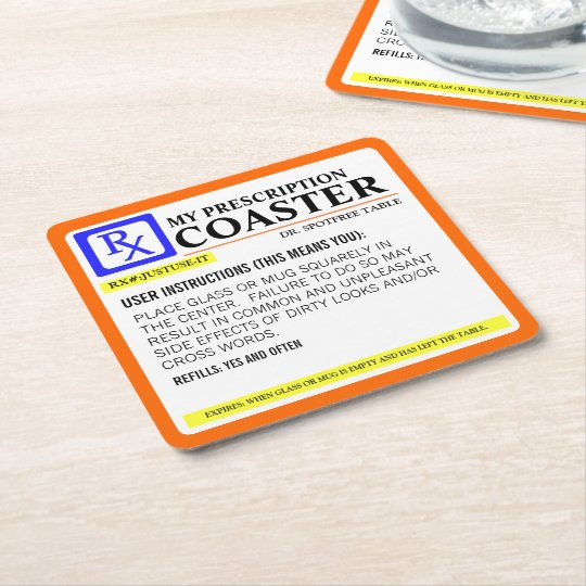 Funny Prescription Label Square Paper Coaster