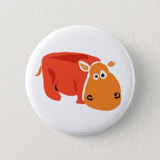 Funny Primitive Art Hippo 6 Cm Round Badge