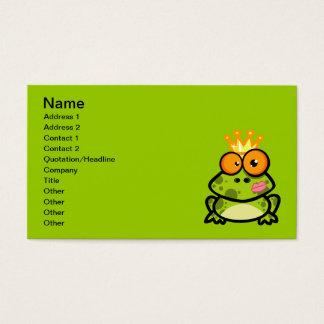 FUNNY PRINCE FROG CARTOON bulgy eyeballs crown Business Card