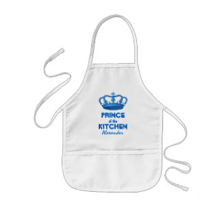 Funny Prince of the Kitchen Crown Custom Name 5 Kids Apron