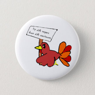 Funny Protesting Thanksgiving Turkey 6 Cm Round Badge