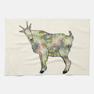Funny Psychedelic Art Goat Animal Design Tea Towel