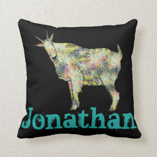 Funny Psychedelic Art Goat Design with Your Name Cushion