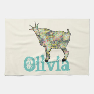 Funny Psychedelic Art Goat Design with Your Name Tea Towel