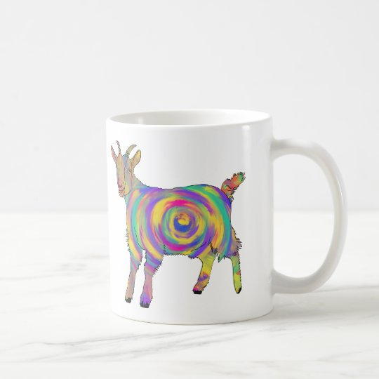Funny Psychedelic Goat Colourful Spiral Animal Art Coffee