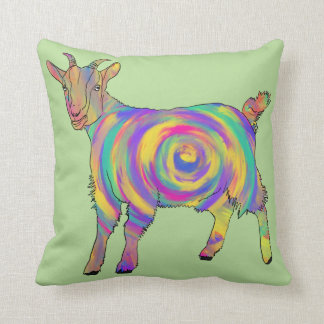 Funny Psychedelic Goat Colourful Spiral Animal Art Cushion