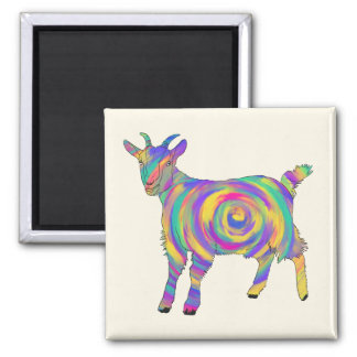 Funny Psychedelic Goat Colourful Spiral Animal Art Magnet