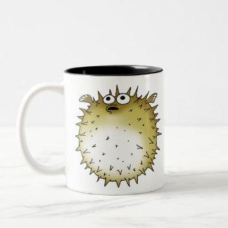 funny puffer fish Two-Tone coffee mug