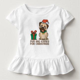 Funny Pug and Kisses Christmas | Ruffle Tee