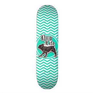 Funny Pug; Aqua Chevron Skate Board Decks