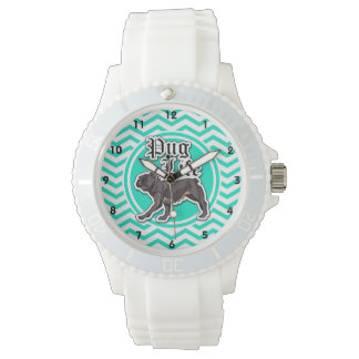Funny Pug; Aqua Chevron Watches