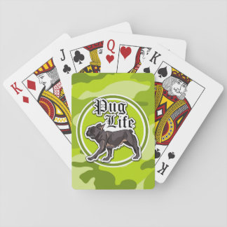 Funny Pug; bright green camo, camouflage Playing Cards