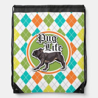 Funny Pug; Colorful Argyle Pattern Backpacks