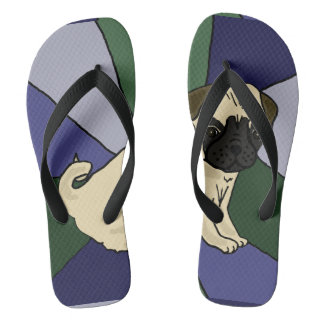 Funny Pug Dog Abstract Art Flip Flops
