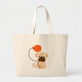 Funny Pug Dog Holding Orange Balloon Jumbo Tote Bag