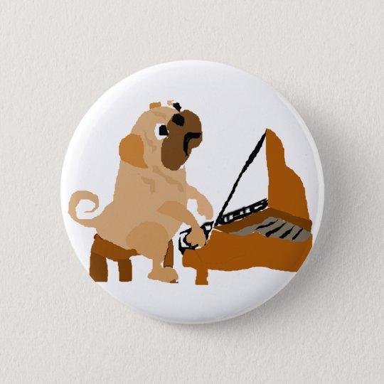 Funny Pug Dog Playing Piano 6 Cm Round Badge