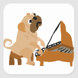 Funny Pug Dog Playing Piano Square Sticker