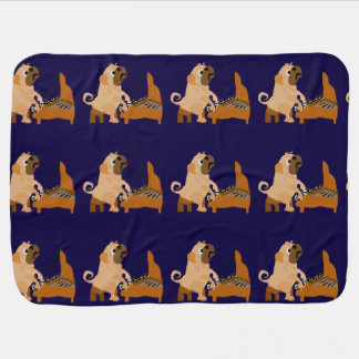 Funny Pug Dog Playing the Piano Baby Blanket