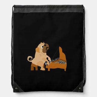 Funny Pug Dog Playing the Piano Drawstring Bag