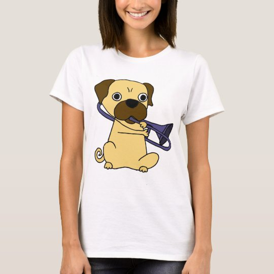 Funny Pug Dog Playing Trombone T-Shirt