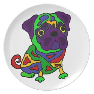 Funny Pug Dog Pop Art Plate