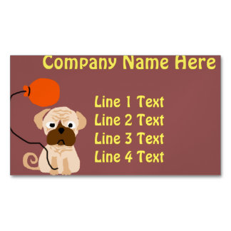 Funny Pug Dog with Orange Balloon Magnetic Business Cards