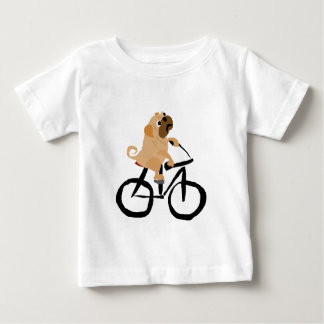 Funny Pug Puppy Dog Riding Bicycle Baby T-Shirt