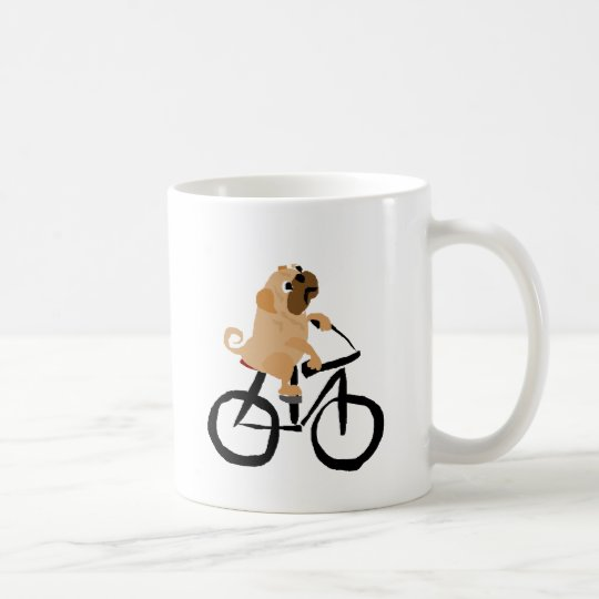 Funny Pug Puppy Dog Riding Bicycle Coffee Mug