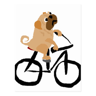 Funny Pug Puppy Dog Riding Bicycle Postcard