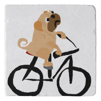 Funny Pug Puppy Dog Riding Bicycle Trivet