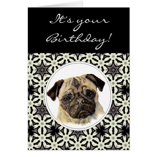 Funny Pugs & Kisses Birthday Pug, Pet Dog Card