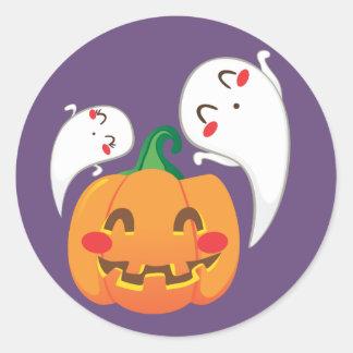Funny Pumpkin Faces Round Sticker